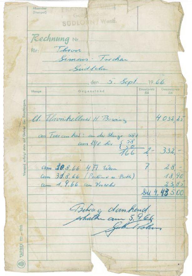 Schützenfestrechnung1966